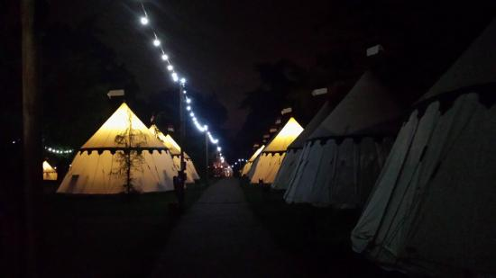 Warwick Castle: Camp site by night