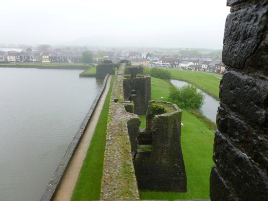 Caerphilly Castle: views out showing walls and towers
