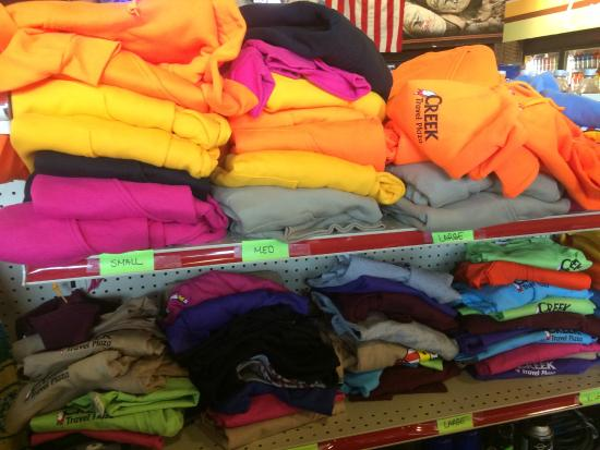 Creek Travel Plaza: Large selection of shirts and hoodies with Poarch logo