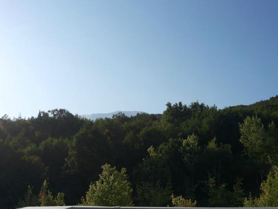La Reserve Hotel Terme Centro Benessere: Dalla terrazza colazione: il bosco e, sullo sfondo, la lunga cresta del Pescofalcone
