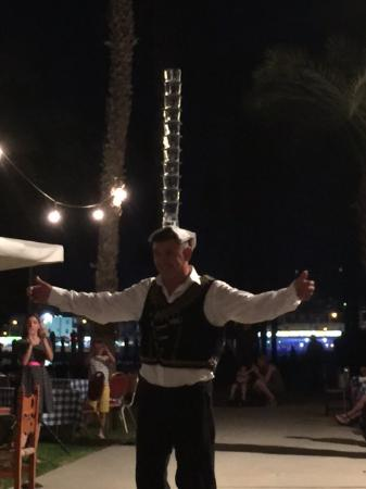 Almyra Hotel: Food and entertainment at the Anabelle included a demonstration from one local as to how the Gre