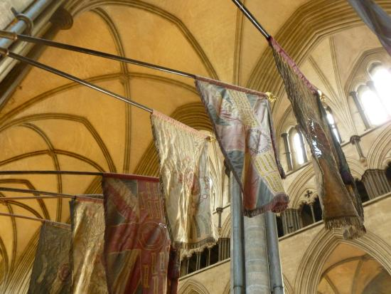 Salisbury Cathedral and Magna Carta: some banners which were worn but beautiful