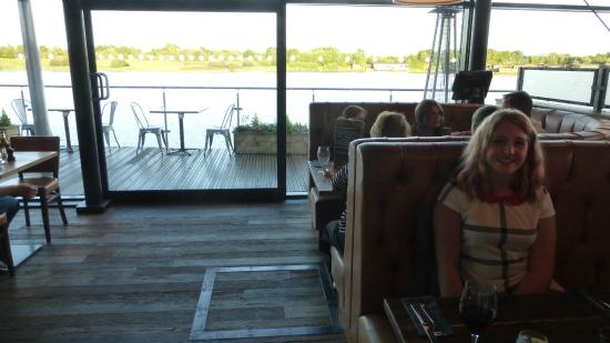 Bert's Pizzeria & Cafe: looking towards the balcony. High back limits view