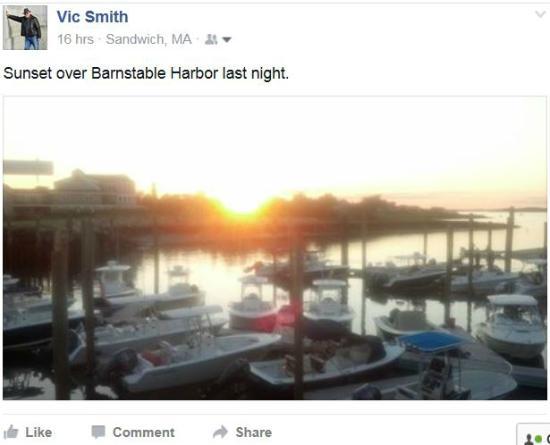 Mattakeese Wharf: Sunset over Barnstable Harbor