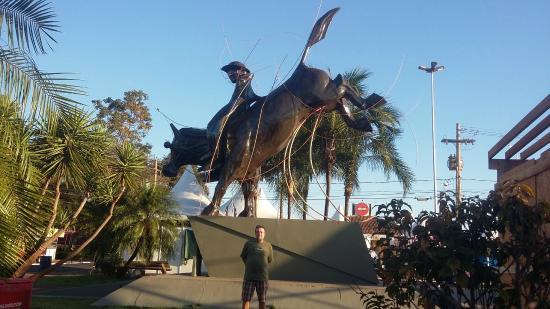 Parque do Peao: uma das varias esculturas sobre rodeios no parque