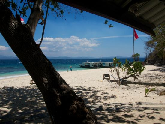 Murex Bangka Resort: The beach and the diving boats
