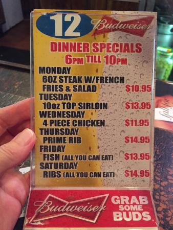 Sambetti's Menu, daily Specials and this week's lunch specials
