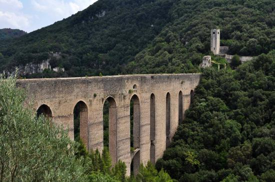 The Tower's Bridge: Spoleto aqueduct from hotel Gattapone.