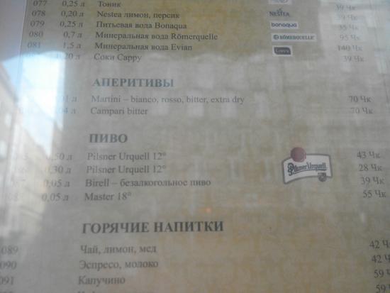 Restaurace 22: Меню