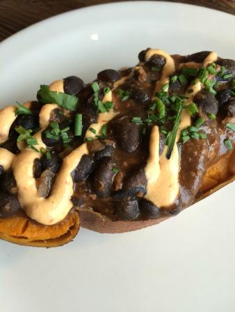 VegeNation: Black Bean Chili Stuffed Sweet Potato