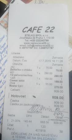 Restaurace 22: чек