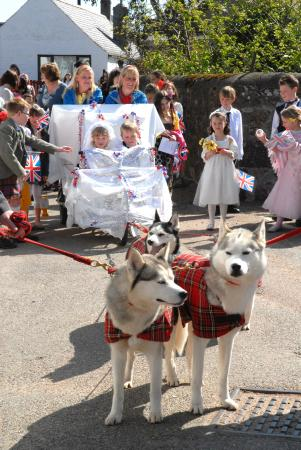 Stonehaven, UK: Childrens re-enactment of Royal wedding in Drumlithie.  Carriage pulled by Huskies