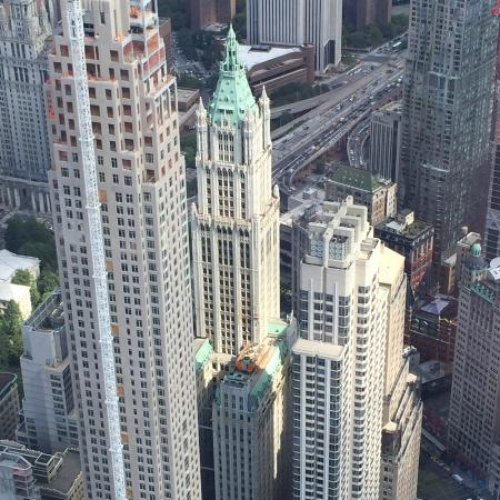 One World Observatory - World Trade Center: Beautiful Woolworth Bldg. in center with green top