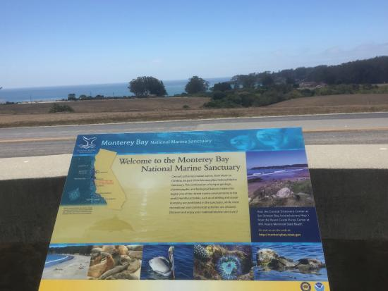 Coastal Discovery Center at San Simeon Bay (Monterey Bay National Marine Sanctuary): Sign at the Hearst Castle overlook