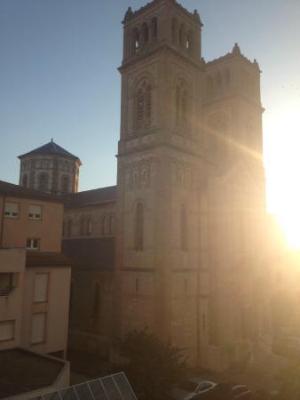 Ibis Millau: Church view from the balcony window.