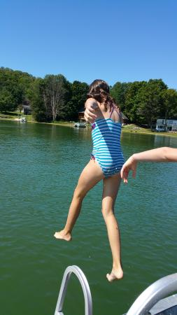 Central Lake, MI: Jumping in the lake