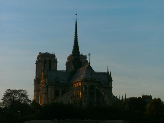Notre Dame katedral: Cathedral of Notre Dame de Paris at dusk