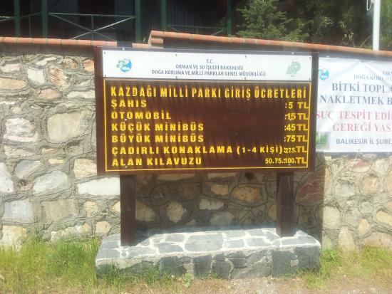 Balikesir, Turki: Kaz Dağları Milli Parkı 2015 yılı giriş ücretleri