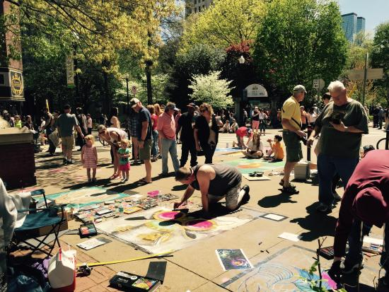 Chalk artists at Market Square