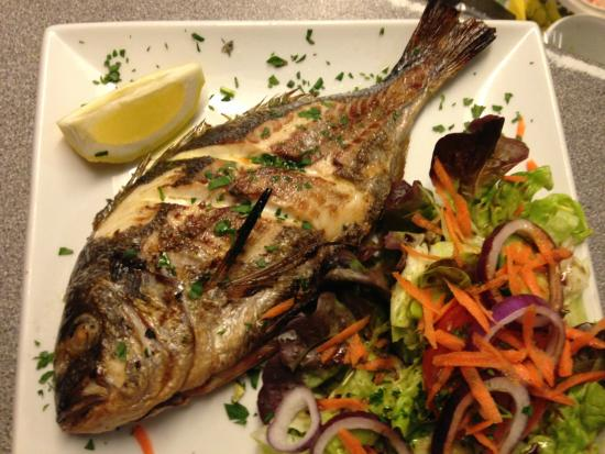 Amici: Grilled whole seabass