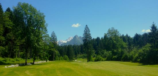 Golf Club Bovec : Hole no 2 with the Svitnjak in the backdrop