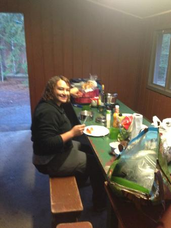 Lake Louise Campground: table in shelter