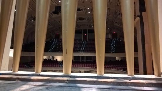 Merrill Auditorium : A view of the auditorium seating from behind the organ's facade