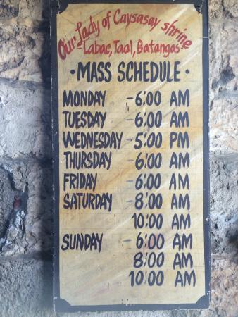Taal, Philippines: Schedule of Mass, as posted