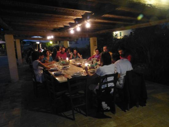 Il Grande Prato: Outdoor dining at night.