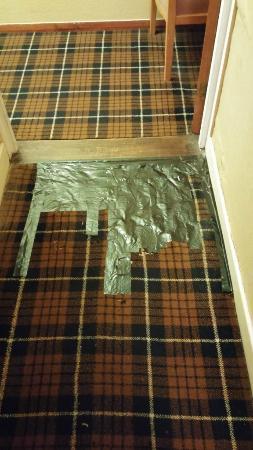 hallway carpet repair, Kings Arms Hotel, Kyleakin, Scotland, Aug 2015