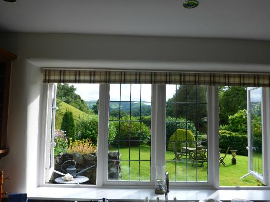 Llandderfel, UK: View to front garden from kitchen window.