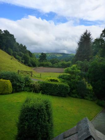 Llandderfel, UK: View from bedroom window to front garden and paddock.