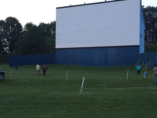 Midland, Canada: Children and families playing ball before the movie starts.
