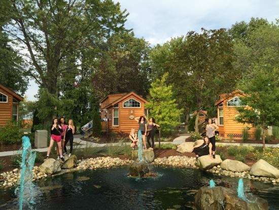 Camper Village at Cedar Point: Pond outside our cabin