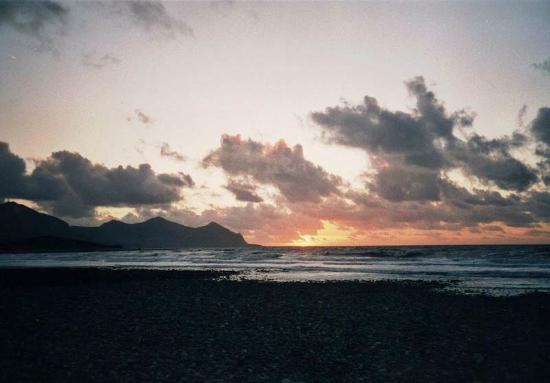Llyn Peninsula, UK: Yr Eifl (The Rivals) from Pontllyfni beach at sunset (1)