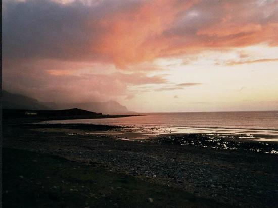 Llyn Peninsula, UK: Yr Eifl (The Rivals) from Pontllyfni beach at sunset (2)