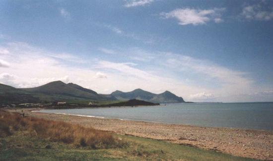 Llyn Peninsula, UK: Yr Eifl (The Rivals) from Pontllyfni beach(2)