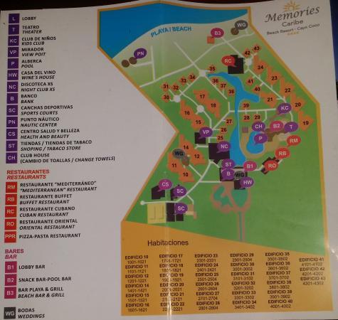 Memories Caribe Beach Resort Map Hotel Map   Picture of Memories Caribe Beach Resort, Cayo Coco