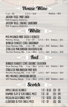 Lakefield, Canada: Canoe & Paddle Wine/Scotch List