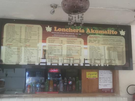 Loncheria Akumalito: Menu Board from August 2015