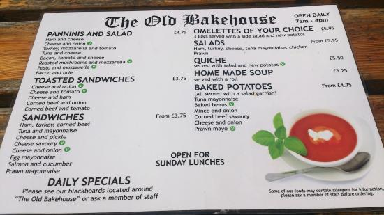 The Old Bakehouse: Menu side 1