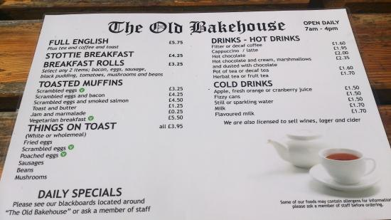 The Old Bakehouse: Menu side 2
