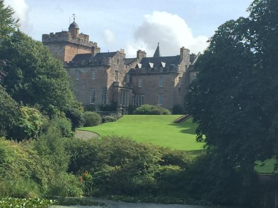 Glenapp Castle: View of the castle from the pond