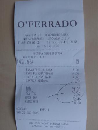 Restaurante O Ferrado : Factura