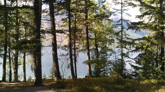 Columbia Falls, MT: view of lake from cabins