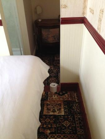 Graydon Hotel: The route to the bathroom - the loo roll is for scale. The gap is about a foot...