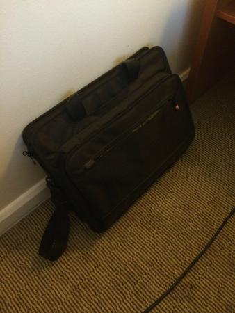 Maidenhead, UK: My empty laptop bag after a member of staff stole everything out of it and left the bag behind.