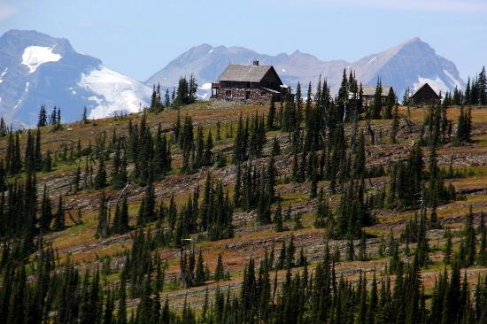 Granite Park Chalet: View of the chalet from the Highline Trail.