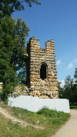 Strelna, Russie : Башня-руина в Орловском парке