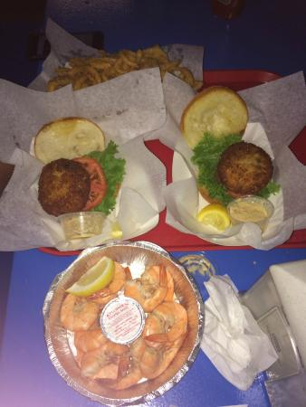 Hooked Up Seafood: Crab cake sandwiches and a dozen peel & eat shrimp